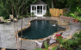 Gunite Pool with Fire Pit and Sheer Descent
