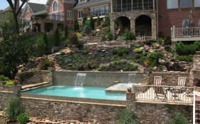 Gunite with Spa and Sheer Descents