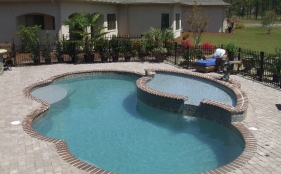 Fiberglass Pool with Spa, Scupper and Tanning Ledge