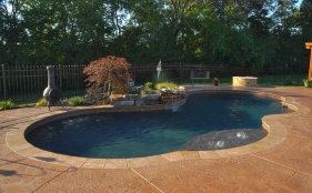Fiberglass Pool with Bubblers and Rock Waterfall