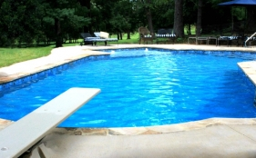 Vinyl Pool with Diving Board, Bubblers, & Tanning Ledge