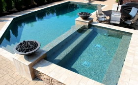 Gunite Pool with Spa, Diving Board, & Fire Pits
