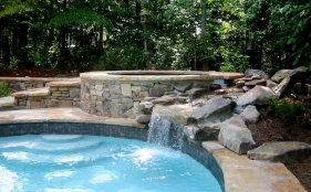 Freeform Pool with Spa and Rock Waterfalls