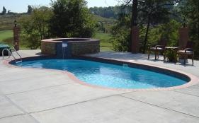 Freeform Pool with Spa and Scupper