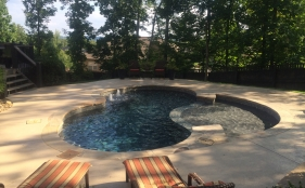 Freeform Fiberglass Pool with Tanning Ledge and Bubblers