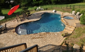 Freeform Gunite Pool with Spa, Scuppers and Bubblers