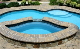 Fiberglass Pool with Spa & Sheer Descents