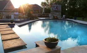 Gunite Pool with Fireplace, Spa, & Tanning Ledge